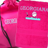 Swimming Towel with Bag Personalised Pink Swim Towel and Bag Set