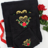 Embroidered Towel Set 3pc Rose and Heart Black Towels