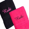 Personalised Hand Towels Black and Pink Hand Set