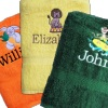 Named Kids Towel Embroidered Design Towels