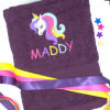 Personalised Unicorn Towel Embroidered Pretty Unicorn