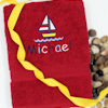 Childrens Personalised Beach Towel Embroidered Boat Named Towel
