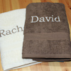 Personalised Towels Set Brown and Cream Bath Towels