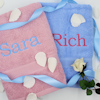 Personalised Towels His and Hers Bath Towels Blue Pink Gift Set