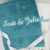 Bath Towel Set Personalised Towels Teal and White