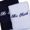 Navy White Bath Towels