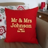 Mr & Mrs Anniversary Gift Red Cushion
