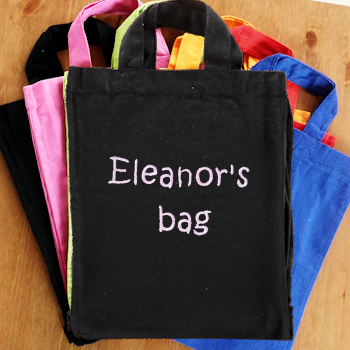 Personalised Little Bag Black Cotton Kids Tote Bag