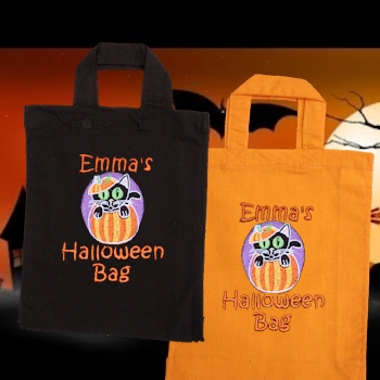 Trick or Treat Bag Halloween Cat Personalised Cotton Tote