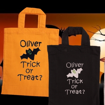 Halloween Bag Trick or Treat Bat Embroidered Cotton Tote