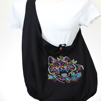 Hippie Chick Sling Bag Embroidered Wolf Eco Bag
