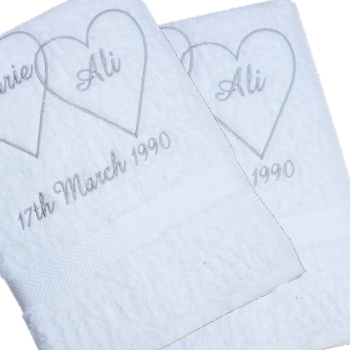 Wedding Towels Entwined Hearts Bath Towels