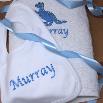 Personalised Baby Towel and Bib 1st Birthday Gift Set