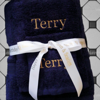 Personalised Towels With Ribbon Choice of Towel Bale Colour