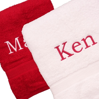 Embroidered Towels Personalised Berry and White Bath Towels