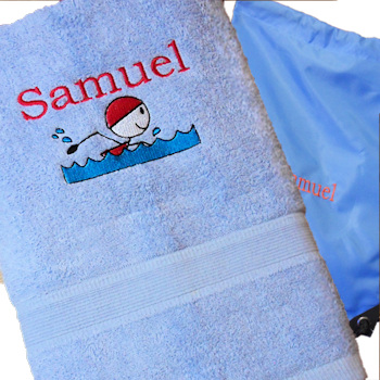 Swim Towel with Bag Personalised Blue Swimming Towel and Bag Set