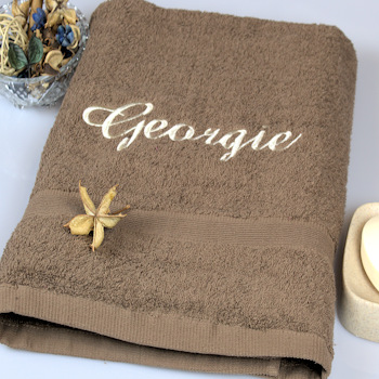 Personalised Bath Sheet Brown XL Towel