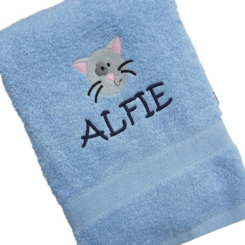 Personalised Towel Cat Embroidered Bath Towel