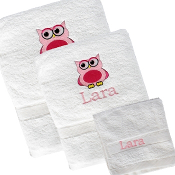 3pc Towel Set Owl Motif Personalised Bath Towel Set
