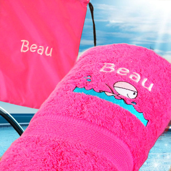 Personalised Pink Swim Towel And Bag Set Amysgifts