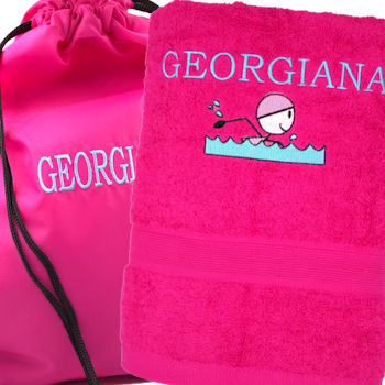 Personalised Pink Swim Towel and Bag Set