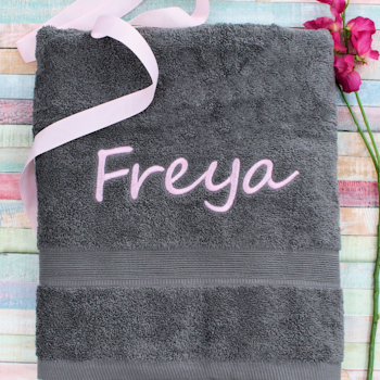Personalised Towel Grey XL Bath Sheet