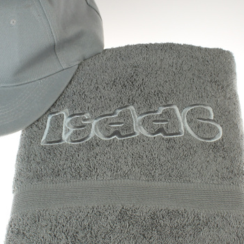 Personalised Teenager Towel Grey Bath Towel Embroidered Funky