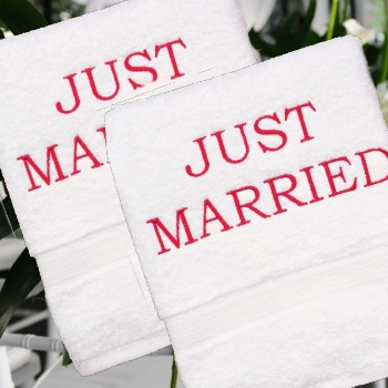 Just Married Towels Personalised White Bath Pair