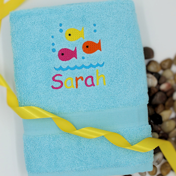Childs Towel Colourful Fish Personalised Towel