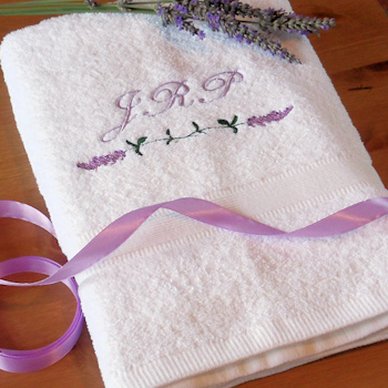 Personalised Towel Lavender Floral Towel