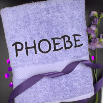 Personalised Bath Towel Lilac Luxury Cotton Towel