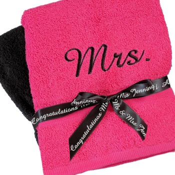 Personalised Towels Pink and Black Bath Set