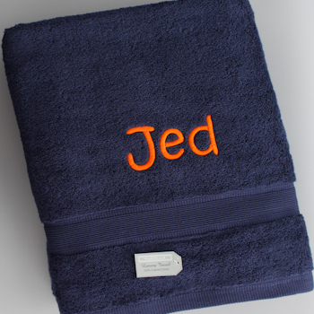 Personalised Bath Towel Navy Sheet