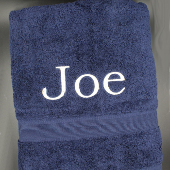 Navy Bath Towel Personalised Bath Towel Navy Blue