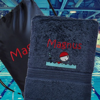 Swim Towel with Bag Personalised Navy Blue Towel and Bag