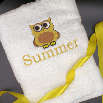 Owl Towel<br>Embroidered Bath Towels