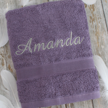 Personalised Towel Aubergine Purple Bath Towel