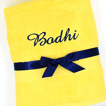 Personalised Bath Towel Yellow Luxury Cotton Towel