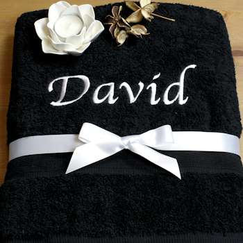 Personalised Towel Black Bath Sheet