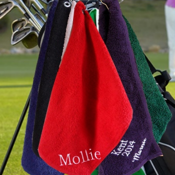Personalised Golf Towel Red Golfing Towel