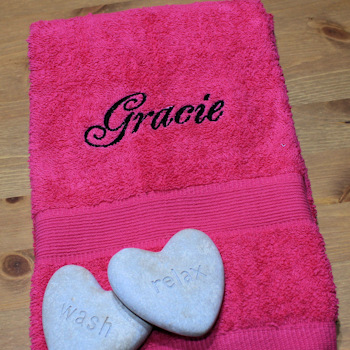 Personalised Towel Fushia Pink Hand Towel