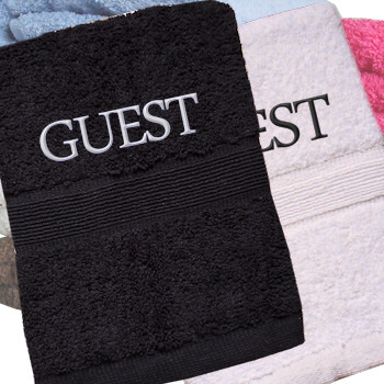 Embroidered Hand Towels Personalised Black and White Set
