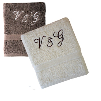 Personalised Hand Towels Brown and Cream Hand Towels