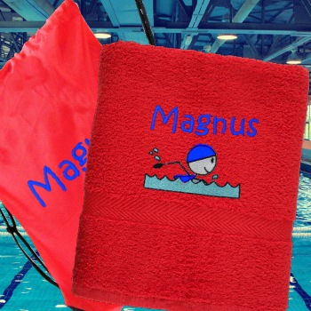 Swim Towel with Bag Personalised Red Swimming Towel and Bag