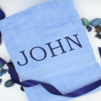 Personalised Towel Blue Bath Towel