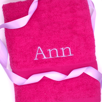 Personalised Towel Fushia Pink Bath Towel
