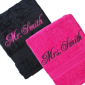 Personalised Bath Sheets Set<br>Pink Black His and Hers Towels