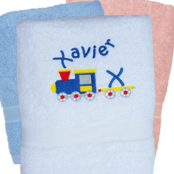 Personalised Train Towel Childrens Embroidered Towel