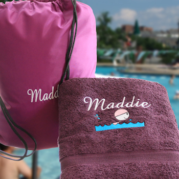 Swimming Towel with Bag Personalised Purple Swim Towel Set