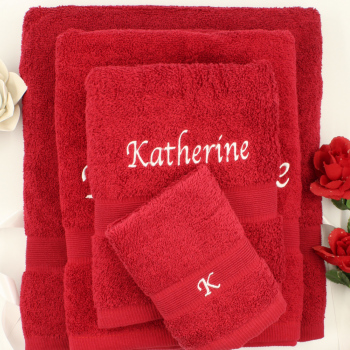 Personalised Towels Set Red 4pc Sheet Bath Hand Face